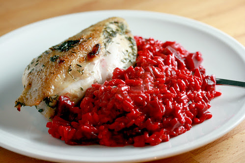 Salted chicken and beetroot risotto 3