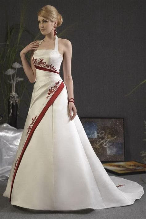 Red and white wedding dress A line halter neck   Hot Peace