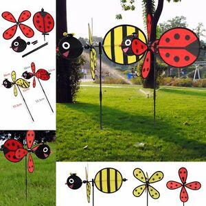 Large Bumble Bee Ladybug Windmill Wind Spinner Whirligig ...