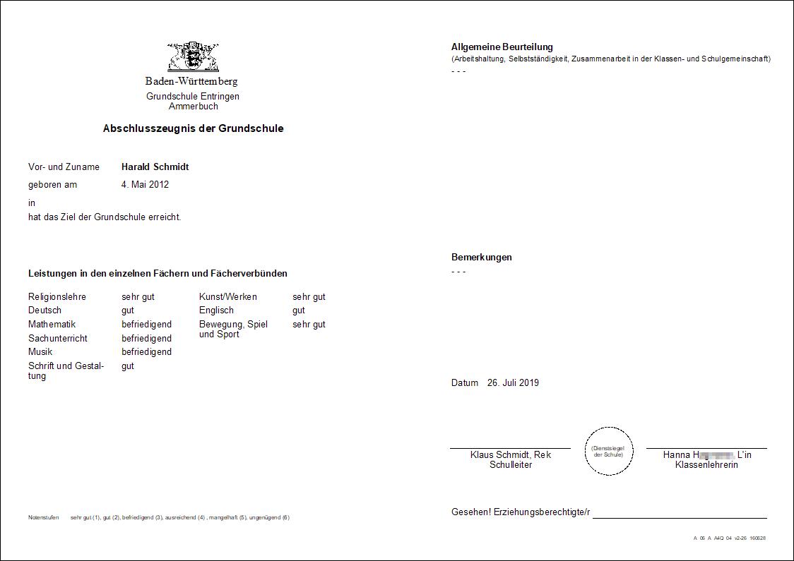 Grundschulempfehlung Baden-Württemberg Notendurchschnitt