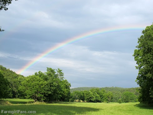 Double rainbow over the hayfield - FarmgirlFare.com
