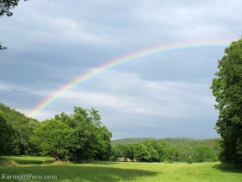 Double rainbow over the hayfield - FarmgirlFare.com