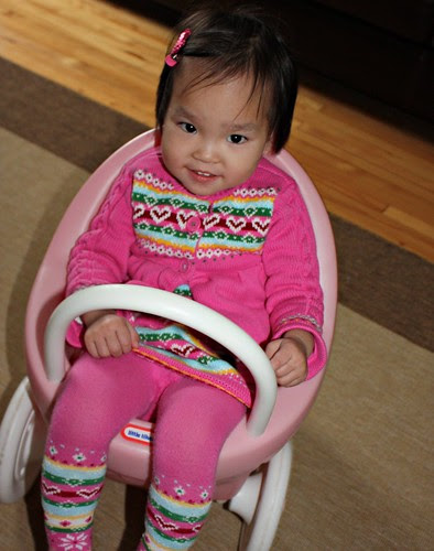 lilah in the dolls stroller