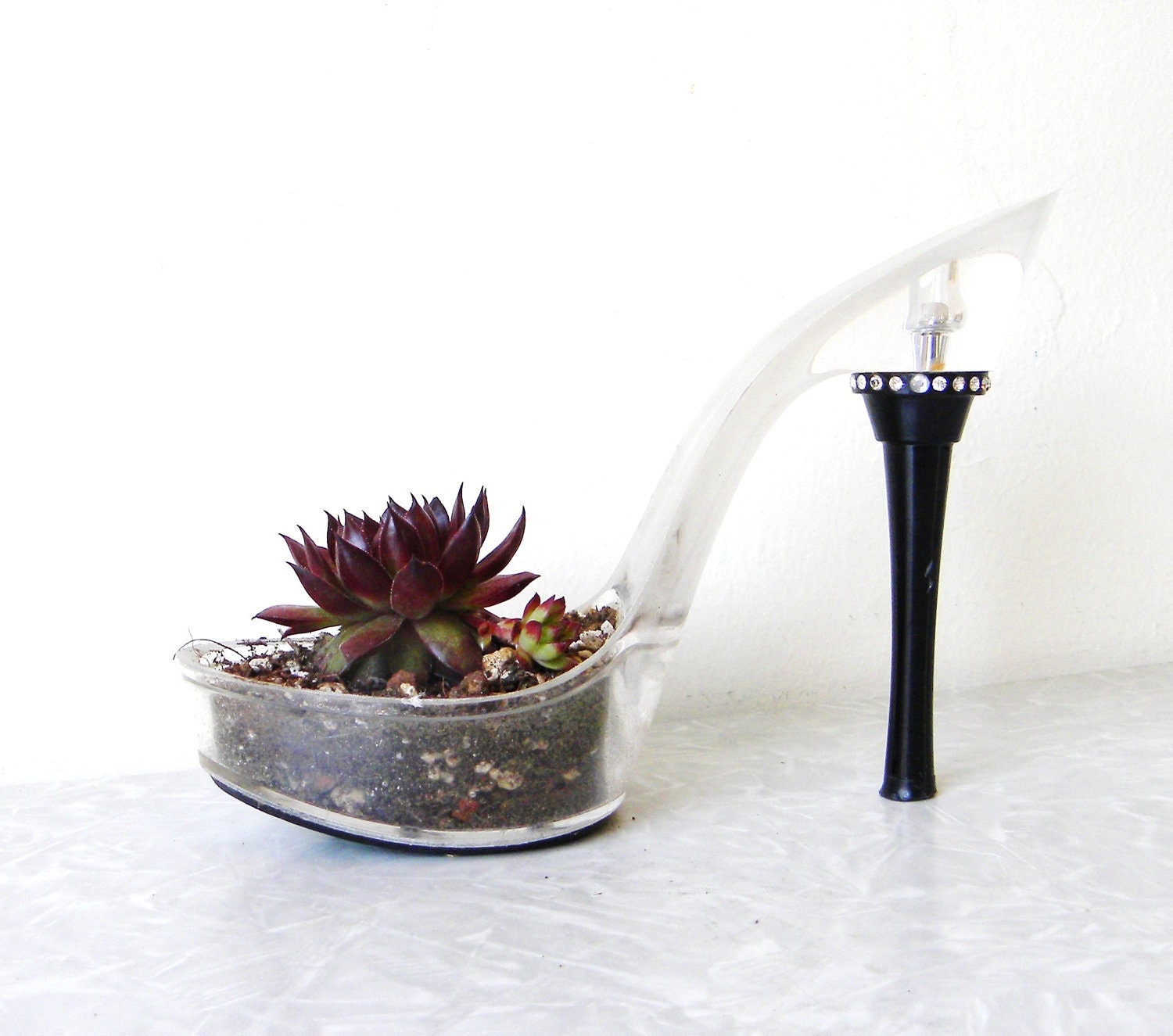 Vamp. succulent planter reclaimed stiletto. eco friendly. repurposed upcycled shoe