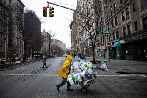 A deliveryman for Fairway supermarket wheeled supplies to customers on the Upper West Side of Manhattan Friday afternoon.
