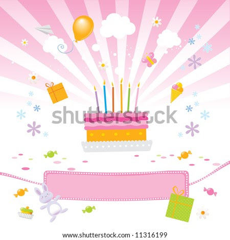 stock vector : birthday party for girls vector illustration with