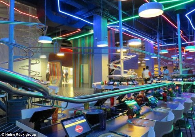 Fast service: ROGO's has a network of 30 individual rollercoaster tracks that deliver food and drinks
