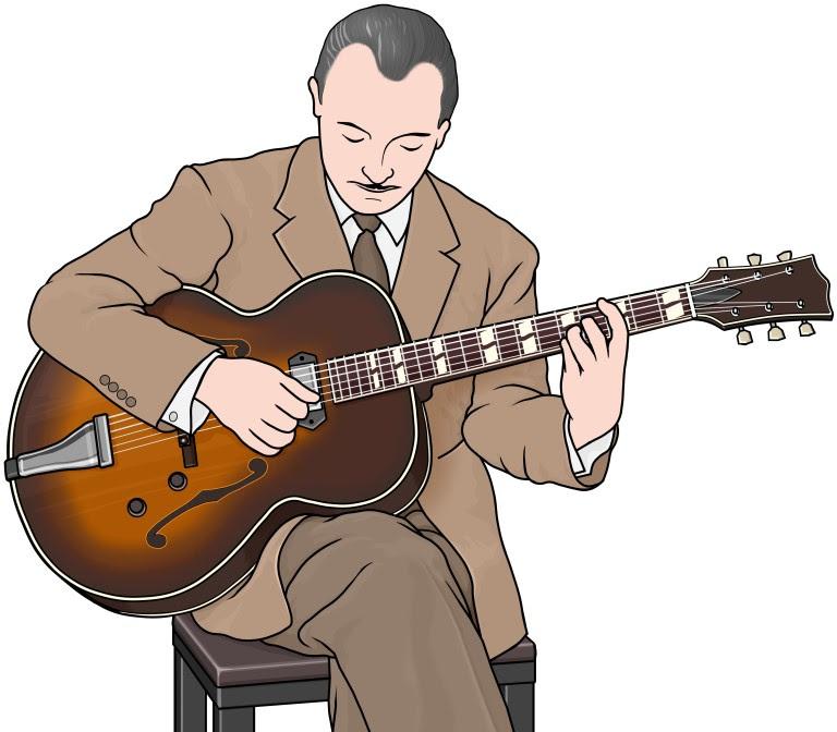 ギタリストのイラストフルアコースティックギター