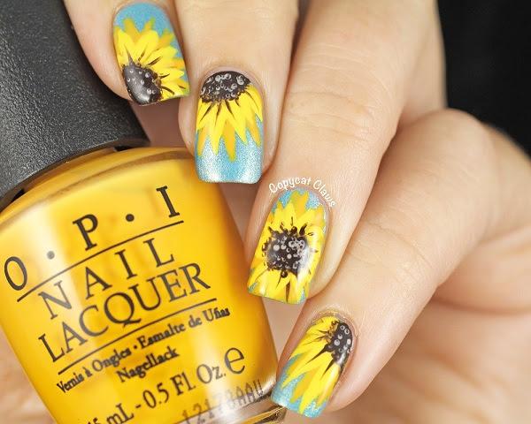 31DC2014-Yellow-Sunflower-Nail-Art-1