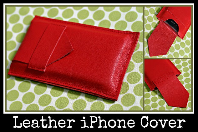 Leather iphone cover with text