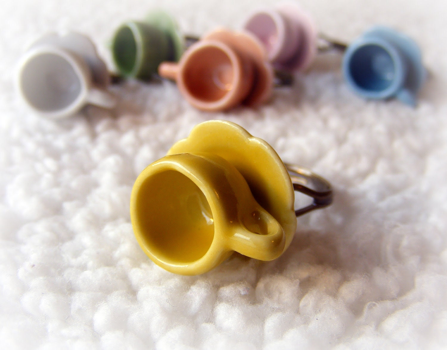 Ring Tea Cup Collectible Miniatures (Your choice of color)