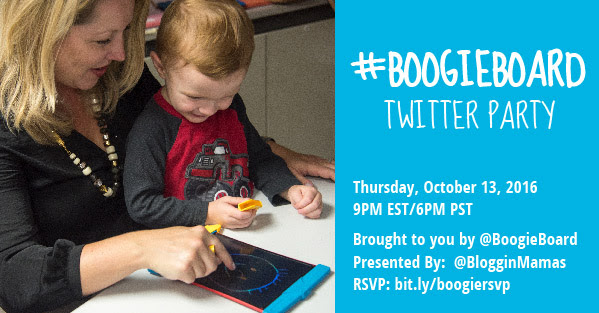 Boogie Board Twitter Party Thursday 10-13-16 at 9p ET. RSVP bit.ly/boogieboardrsvp