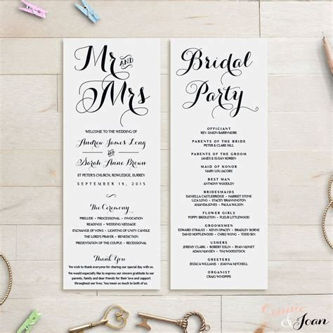 Long Wedding Programs, Mr and Mrs programs, Wedding Order