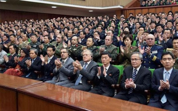 A national meeting at the People's Palace of Culture in Pyongyang on Monday in celebration of the 85th founding anniversary of the Korean People's Army