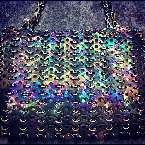 This Paco Rabanne clutch is gorg! It's called oil slick, pretty apt for that holo iridescent finish.