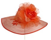 "Women's Kentucky Derby Hat, Spring Fashion Easter Hat, Sinamay Straw Hat, Garden and Tea Party Hat in Orange is a ""Tangerine Treasure"""