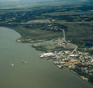 Aerial view of Dillingham, Alaska.