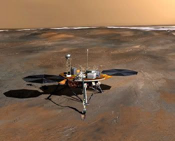 An artist's concept of the Phoenix lander on the Martian northern plain.
