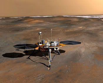An artist's concept of the Phoenix lander on the Martian northern plain.