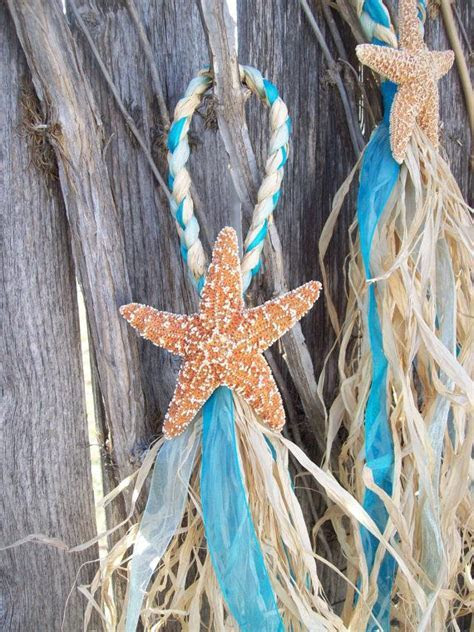 Small Starfish and Raffia Decoration, Beach Wedding Decor