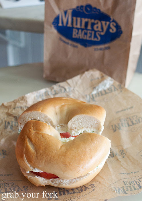 tomato and scallion cream cheese bagel at murray's bagels nyc new york usa jewish food