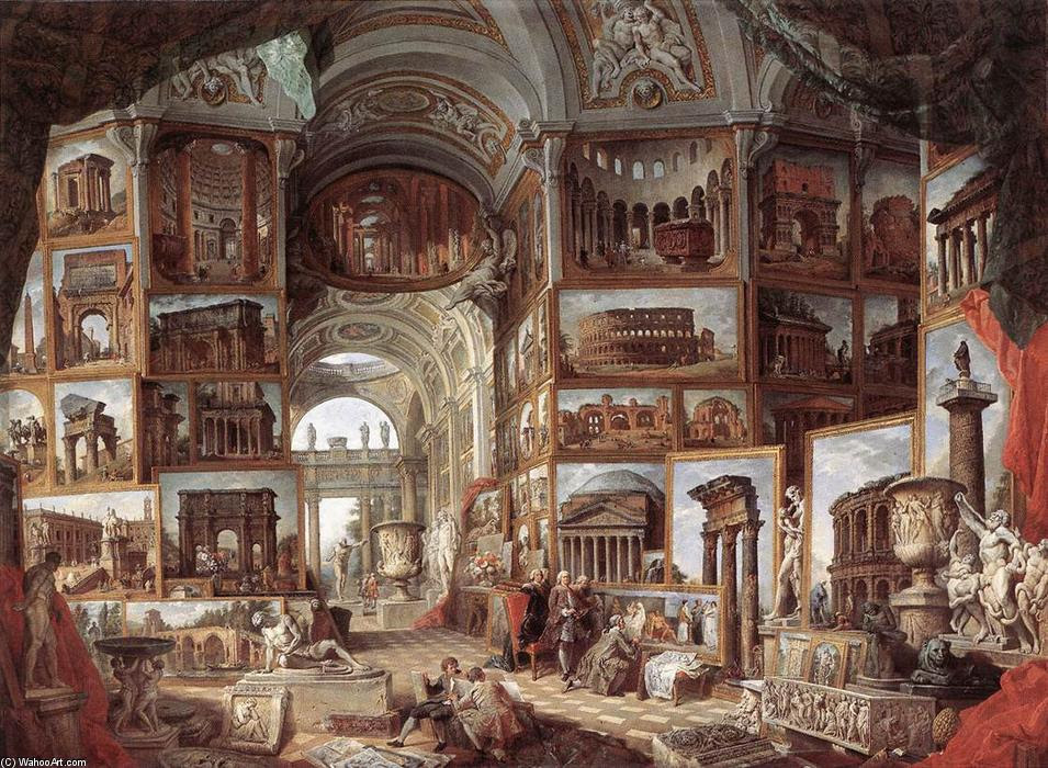 Resultado de imagem para Giovanni Paolo Pannini, Galeria de Pinturas de Roma Antiga