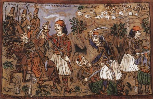 Οι γιγαντομάχοι ήρωες Σταμάτης Νικηταράς, Ιωάννης Γκούρας και Οδυσσέας Ανδρούτσος, καζεΐνη