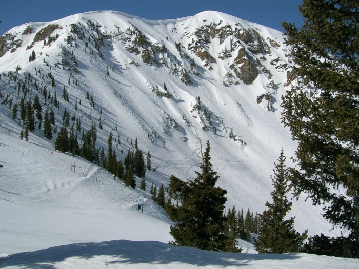 Alta's Mount Baldy, with top of Sunshine Bowl to right.  Skiers regularly ski down Baldy's chutes, after hike to top.