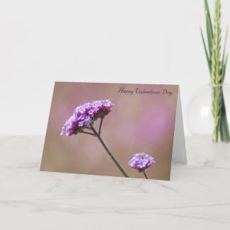 Macro Purple and Pink Flowers Valentines Greeting Card