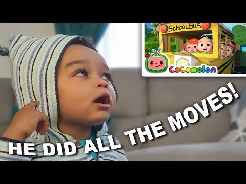 Cute toddler singing while watching CoCoMelon