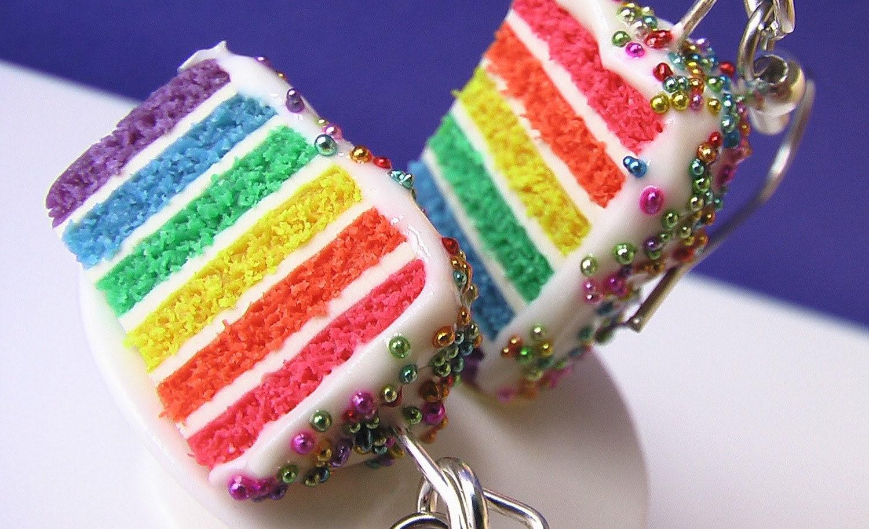 Rainbow Birthday Cake Earrings (Bejeweled Palette)