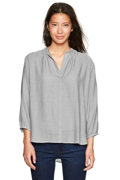 Gap Shirred Split-Neck Top