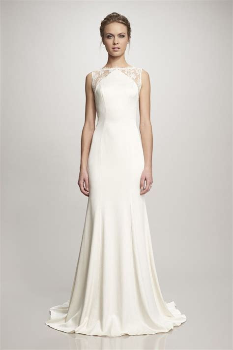 Ivory crepe gown with lace back   wedding dresses   Retro