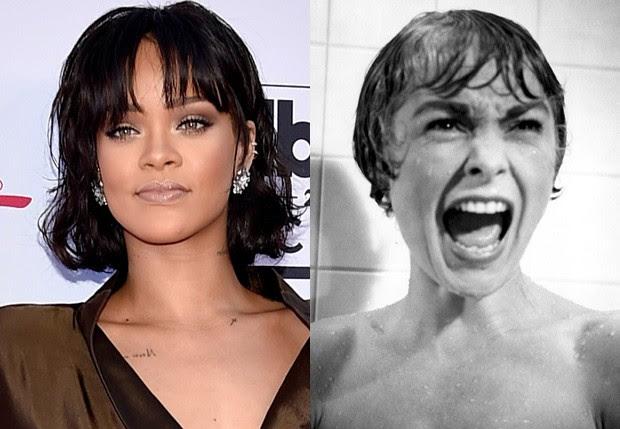Rihanna e Janet Leigh como Marion Crane em cena de 'Psicose' (Foto: Getty Images e Reprodução)