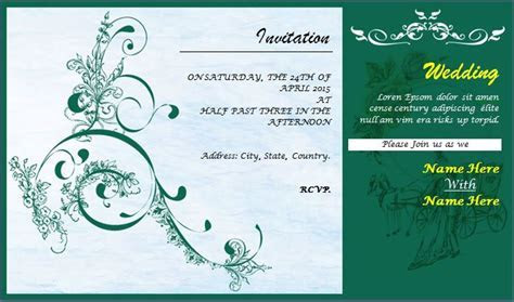 Wedding Invitation Card Template for MS word   Word
