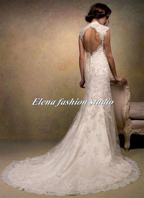 Open back Lace Wedding Dress vintage lace by