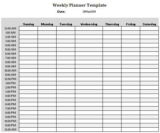 24 Hour Daily Schedule Template | Daily Agenda Calendar