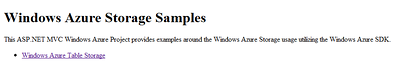 Windows Azure Storage Samples Site Home Page