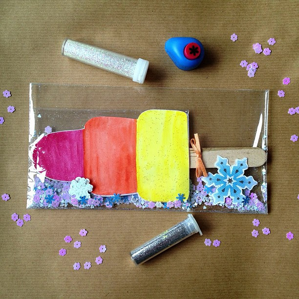 The finished envelope #rocket  #icecream #icelolly #elevatedenvelope #confetti #snowflakes
