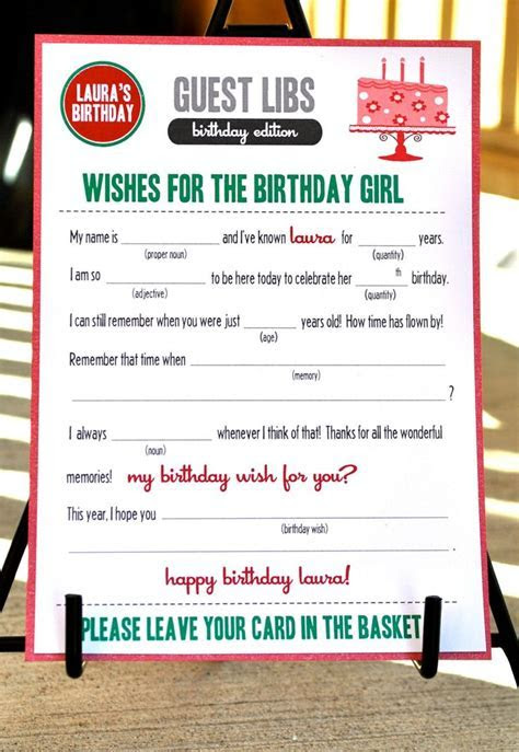 Mad libs  I can make my own   30th Birthday Party