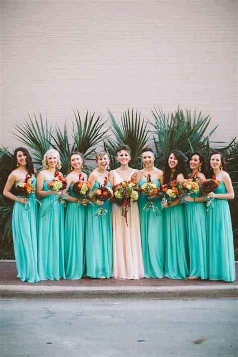 Bright Teal Bridesmaid Dresses   Wedding Inspiration Board