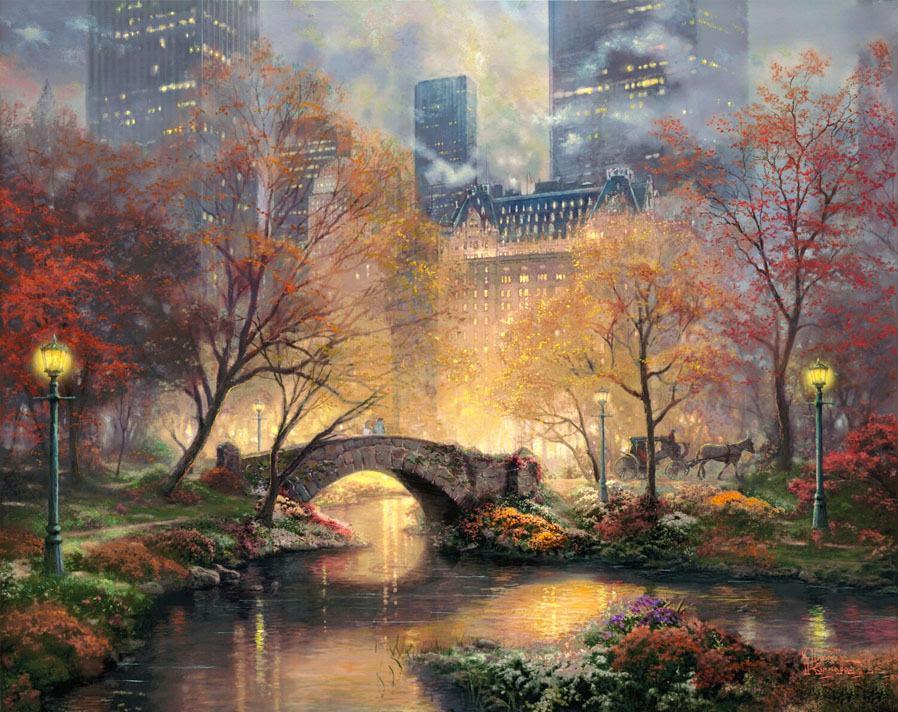 Thomas Kinkade Painting Central Park