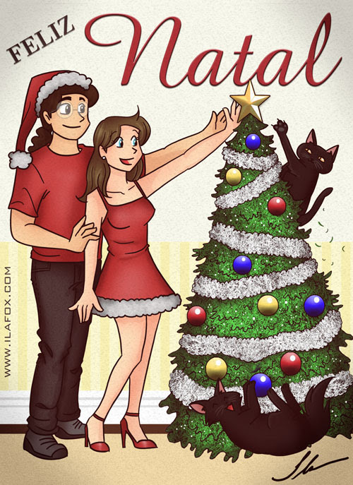 Ilustração Cartão Natal, Família, Gatos, Arvore de Natal, 2009 by Ila Fox
