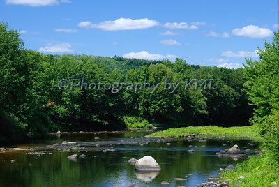 low river in the summer