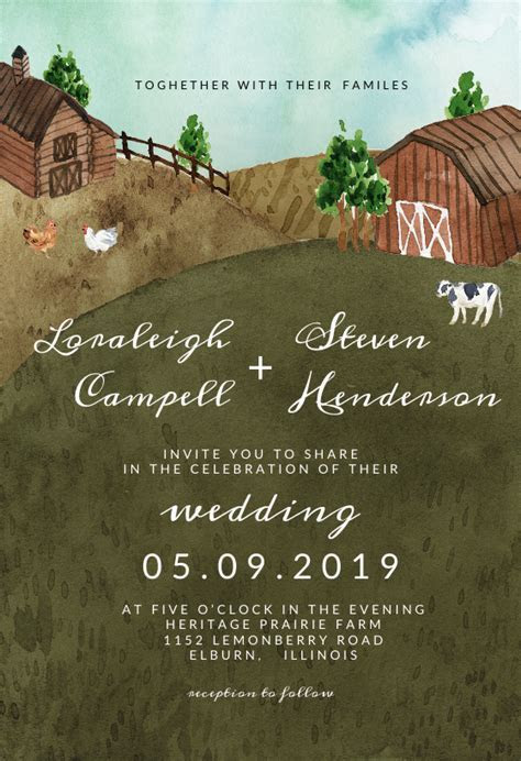 Watercolor farm   Wedding Invitation Template (free