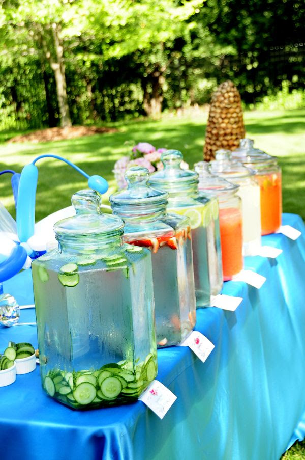 Infused Water Bar.  Picnic Perfect!  At an event by Blue Plate Catering in Chicago