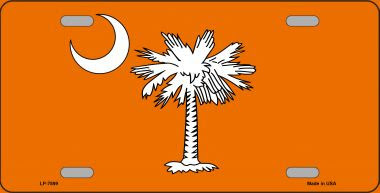 South Carolina Flag Orange Novelty Wholesale Metal License Plate