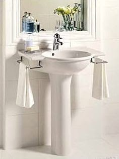Tiny Bathroom Storage Pedestal Sink