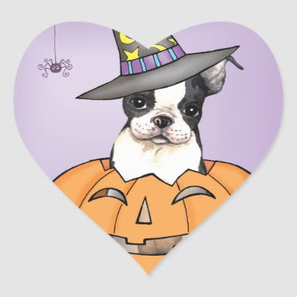 Boston Terrier Halloween Heart Stickers