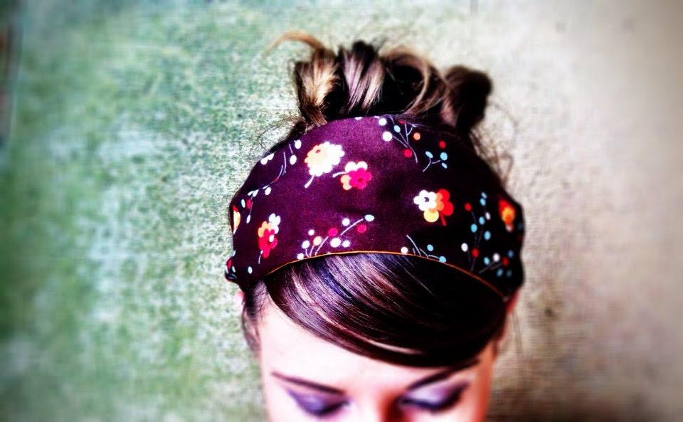 Earthy spring hair accessories for women / nature flowers buds posies / flea market fancy fabric  / blue orange brown / rustic hair wrap - jerseymaid